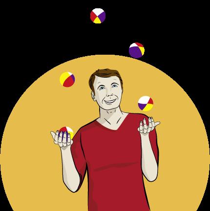 Mann am jonglieren